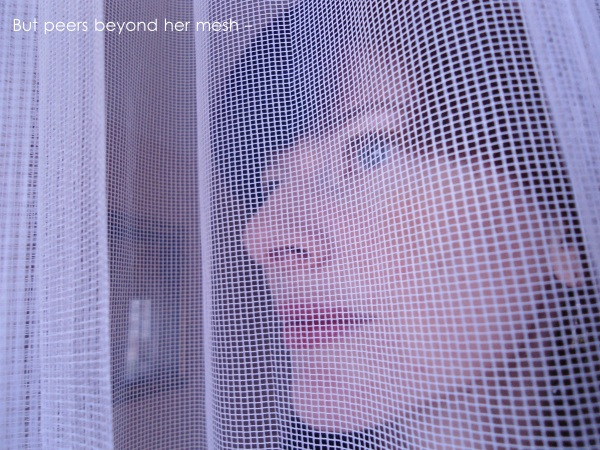 but peers beyond her mesh